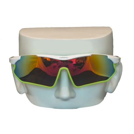 Vibes+ Goggles Shades - White Frame Lime Border / Polarized Red Lens