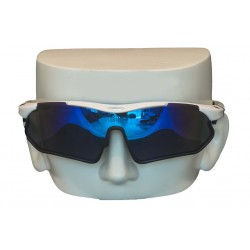 Vibes+ Goggles Shades - White Frame Black Border / Polarized Blue Lens