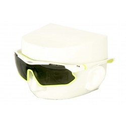 Vibes+ Goggles Shades - White Frame Lime Border / Polarized Black Lens