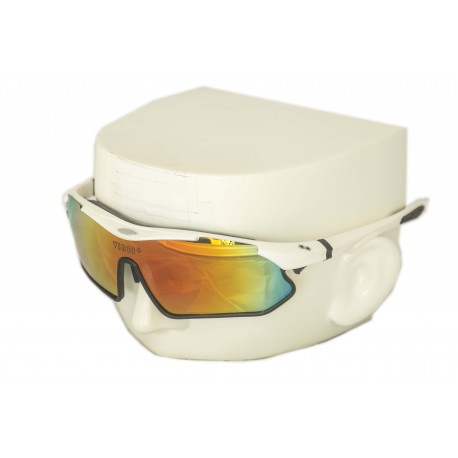Vibes+ Goggles Shades - White Frame Black Border / Polarized Red Lens