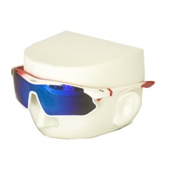Vibes+ Goggles Shades - Matte White Fade Red / Polarized Blue Lens