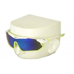 Vibes+ Goggles Shades - White Frame Lime Border / Polarized Blue Lens
