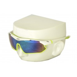 Vibes+ Goggles Shades - White Frame Lime Border / Polarized Purple Lens